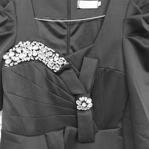 Neckline Rhinestone - Long Sleeves Peplum Dress
